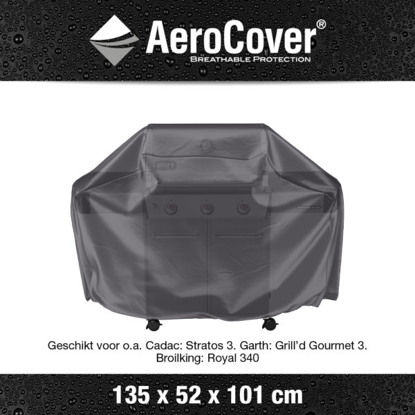 7852 BBQ hoes M buitenkeukenhoes AeroCover transparant 135x52x101 cm