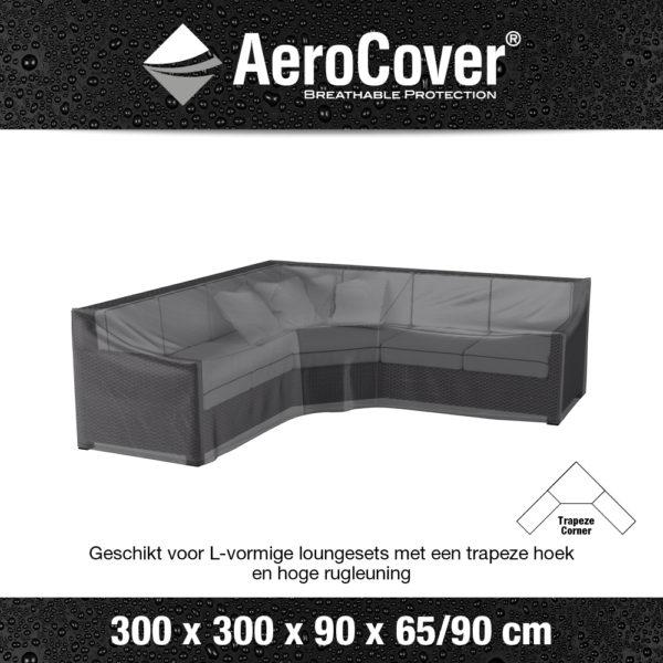 7957 Loungesethoes hoekset trapeze AeroCover transparant 300x300x90x65/90 cm
